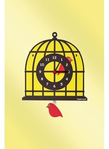 Peoples Clock Kuş Kafesi Sallanan Sarkaçlı Çocuk Odası Duvar Saati Renkli